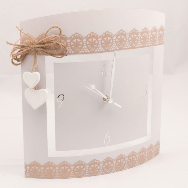 Orologio rettangolare in vetro satinato e decori in gesso e corda - Decori in gesso ...